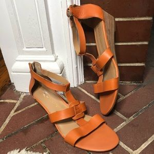 Franco Sarto Orange Leather Wedge Sandals Size 10